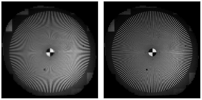 Figure 1: (left) 80 × 80 pixels image of a Siemens star acquired by a conventional camera. (right) image acquired by a compressive imager with the same 80 × 80 detectors sensor (at 4× compression).